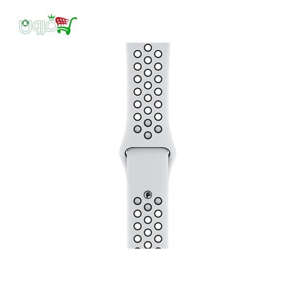ساعت هوشمند اپل واچ نایک سری 40 و 44 میلیمتری نقره ای با بدنه آلومینیوم و بند نایک