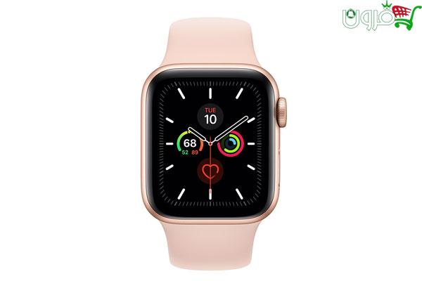 ساعت هوشمند اپل واچ 5 سایز 44mm بدنه آلومینیوم طلایی با بند اسپورت