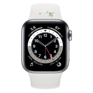 ساعت هوشمند اپل Apple Watch 6 GPS سایز ۴۴mm رنگ نقره ای بند اسپرت سفید