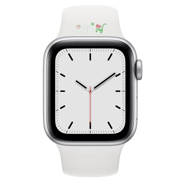 ساعت هوشمند اپل Apple Watch SE GPS سایز 44mm رنگ نقره ای بند اسپرت سفید